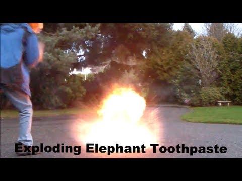 Exploding Elephant Toothpaste [Slow Motion]