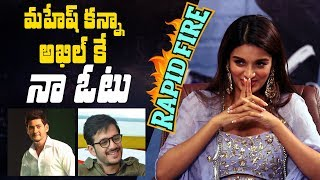 Rapid Fire - Nidhhi Agerwal on why she picks Akhil over Mahesh Babu, dating an actor, her favourites - IGTELUGU
