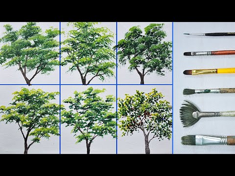painting different trees using different brushes in acrylic