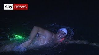 The Long Swim: Glowstick on Speedos - SKYNEWS
