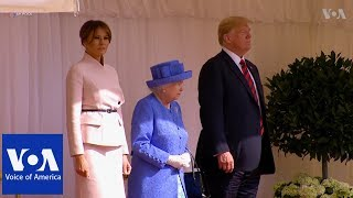 Queen Elizabeth Welcomes President Trump - VOAVIDEO