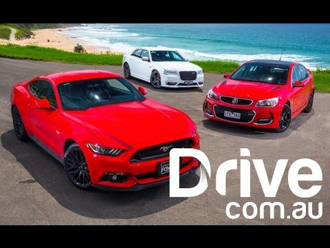 New Ford Mustang GT V Holden Commodore SSV V Chrysler 300 SRT Comparison
