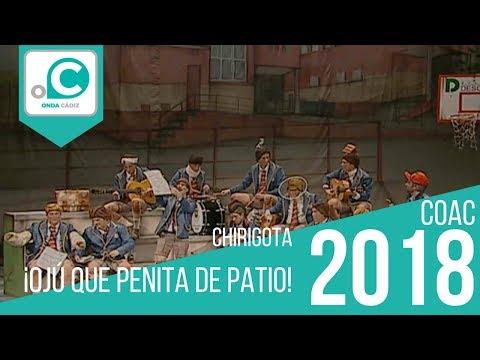 La agrupación ¡Ojú como está el patio! llega al COAC 2018 en la modalidad de Chirigotas. En años anteriores (2017) concursaron en el Teatro Falla como ¡Ojú que bochorno!, consiguiendo una clasificación en el concurso de Cuartos de final.
