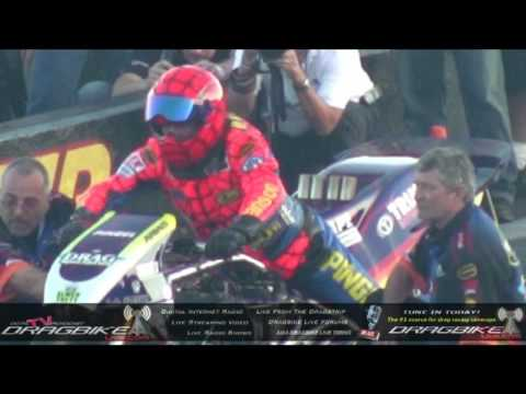Top Fuel Motorcycle Dragbike Explodes! Larry Spiderman Mcbride Starting Line Explosion