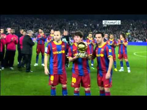 Messi Iniesta Xavi at Camp Nou with Ballon D or for Barca Fans