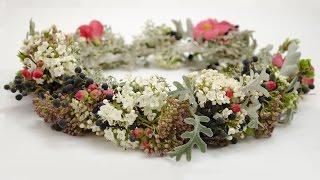 Флористика. Урок. Как сделать свадебныйи или праздничный венок  из живых цветов  floristry Wedding