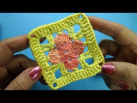 Квадратный мотив крючком Crochet square