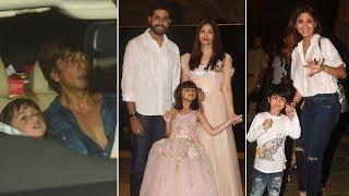 SRK-AbRam, Shilpa-Viaan among others at Aaradhya Bachchan's birthday bash - TIMESOFINDIACHANNEL