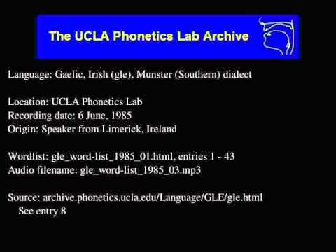 Gaelic, Irish audio: gle_word-list_1985_03