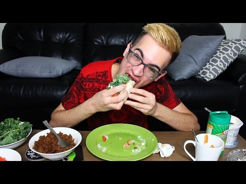 ASMR MUKBANG *Eating Show* | Tortilla Wrap Tacos (Chewing, Crunching)
