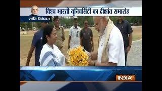 PM Modi arrives in Shanti Niketan, received by WB CM Mamata Banerjee - INDIATV
