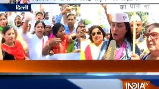AAP MLA protest against Haryana Govt over Delhi water crisis - INDIATV