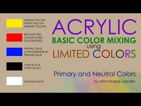 basic color mixing using 5 limited colors on palette