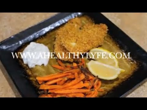 Lemon Pepper Oven Fried Chicken & Sweet Potato Fries