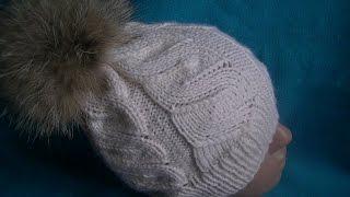 Вязание шапки  узором ложная коса.Knitting hats false braid pattern