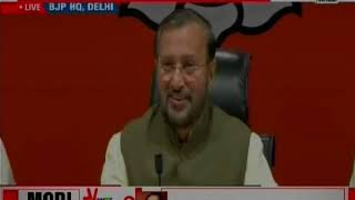 BJP Prakash Javadekar Press Conference: Prakash Javadekar hits out at Congress for Foul Language - NEWSXLIVE