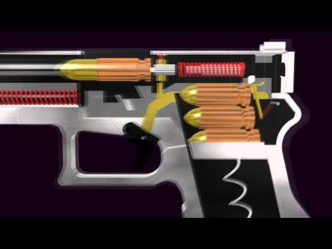 3D Glock Semi- Automatic Pistol (Function Animation)