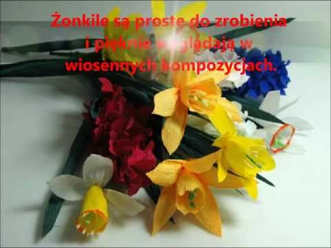 Kwiaty z bibuły ŻONKIL krok po kroku. How to make a paper flower - Daffodil. DIY