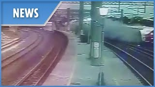 CCTV of moment Taiwan high-speed train derails killing 22 - THESUNNEWSPAPER