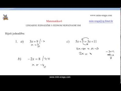 Matematika za šesti razred - linearne jednadžbe vj.br 1-A