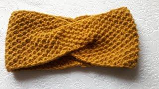 Вязание повязки на голову спицами.