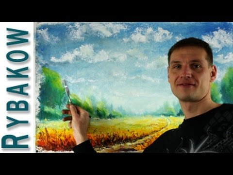 How to oil paint SUNNY LANDSCAPE - Full oil painting lessons