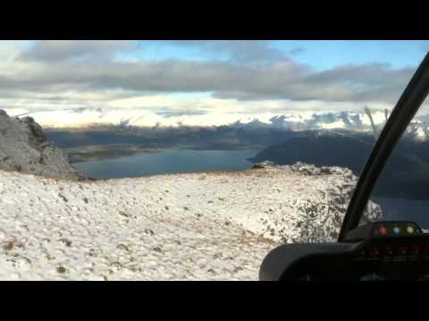 Heli landing on Cecil Peak - QT New Zealand
