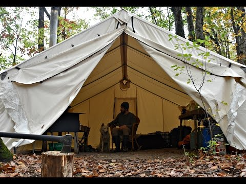 Off Grid : Man and Dog Live in Canvas Tent