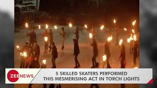 Shimla's ice skating rink with torch lights - ZEENEWS