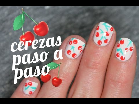 Uñas decoradas con cerezas paso a paso