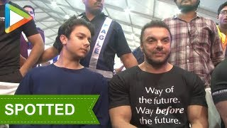 Sohail Khan and son  Nirvaan Khan attends Finale of Fun Fitness Challenge by Being Strong - HUNGAMA