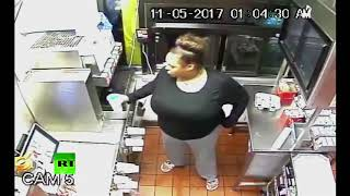 Steal-thru window: Woman squeezes into closed McDonald's to get food - RUSSIATODAY