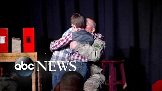 Magic show reunites boy with military dad - ABCNEWS