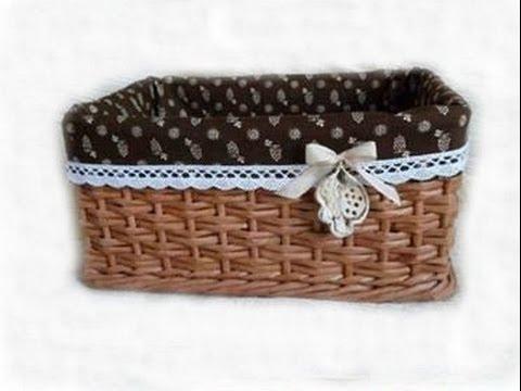 Como hacer una canasta de papel periodico - A basket of newspaper - tutorial