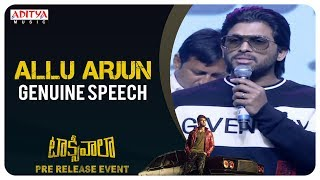 Stylish Star Allu Arjun Genuine Speech @ Taxiwaala Pre-Release EVENT Live || Vijay Deverakonda - ADITYAMUSIC