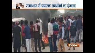 Rajasthan: Supporters of Sachin Pilot block road in Karauli - INDIATV