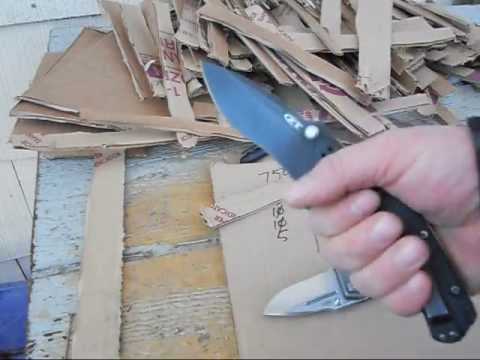 m390 vs 154cm cardboard cut test