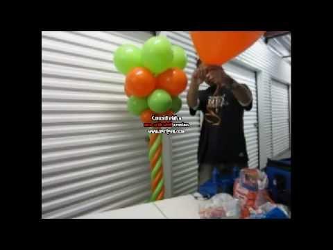 Como hacer una columna con globos - Decoraciones con globos