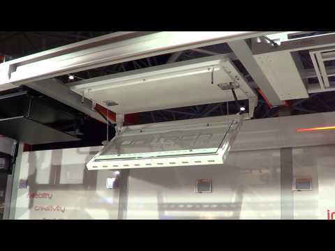Unitech Systems FPLCV4 flat panel ceiling lift at ISE 2013