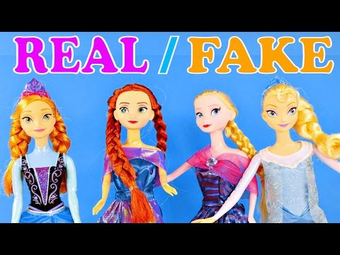 Disney Frozen FAKE Barbie Dolls vs Real Queen Elsa and Princess Anna Review by Disney Cars Toy Club