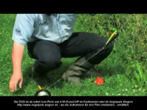 Waller-Montage  Das Abspannen über die Ufer aus der DVD Waller und Störe im Forellensee