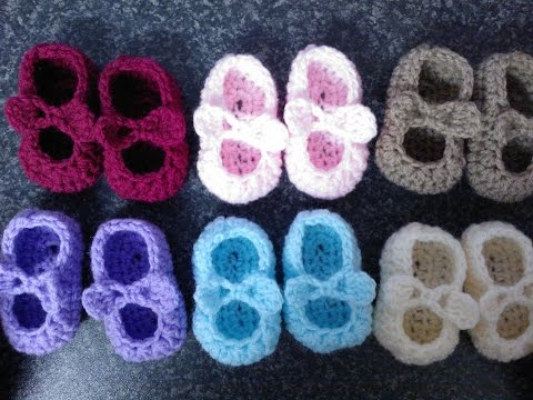 My Easy Crochet Petite Baby Mary Jane Ballerina Slippers With Bows (3 inch sole) includes bloopers