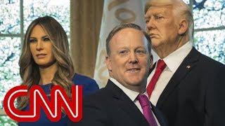 Sean Spicer helps reveal Melania wax figure - CNN
