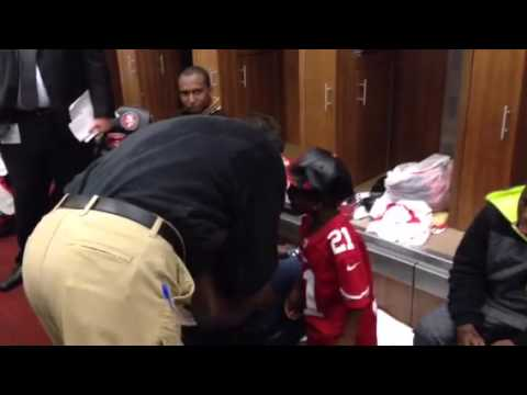 Jim Harbaugh says goodbye to Frank Gore