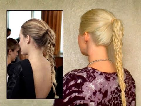 Serena / Blake Lively hair tutorial: quick easy braided ponytail summer hairstyles for long hair