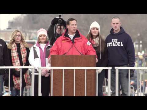 Rick Santorum and family at the March for Life, January 2013