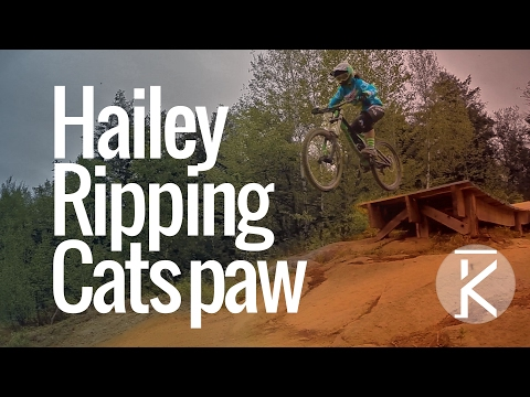 Following Hailey down Cat's Paw at Highland Mountain Bike Park
