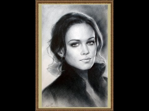 Speed drawing portrait in dry brush technique. HD.