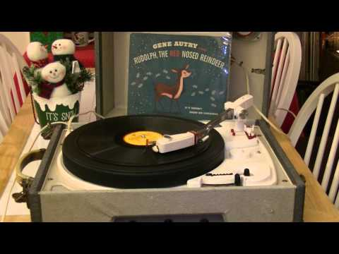1961 GARRARD 4HF STEREOMASTER TUBE PORTABLE HI-FI -- RUDOLPH THE RED NOSE REINDEER -- GENE AUTRY