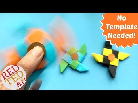Easy Ninja Fidget Spinner DIY without Bearings - NO TEMPLATE needed - Paper fidget spinner DIY
